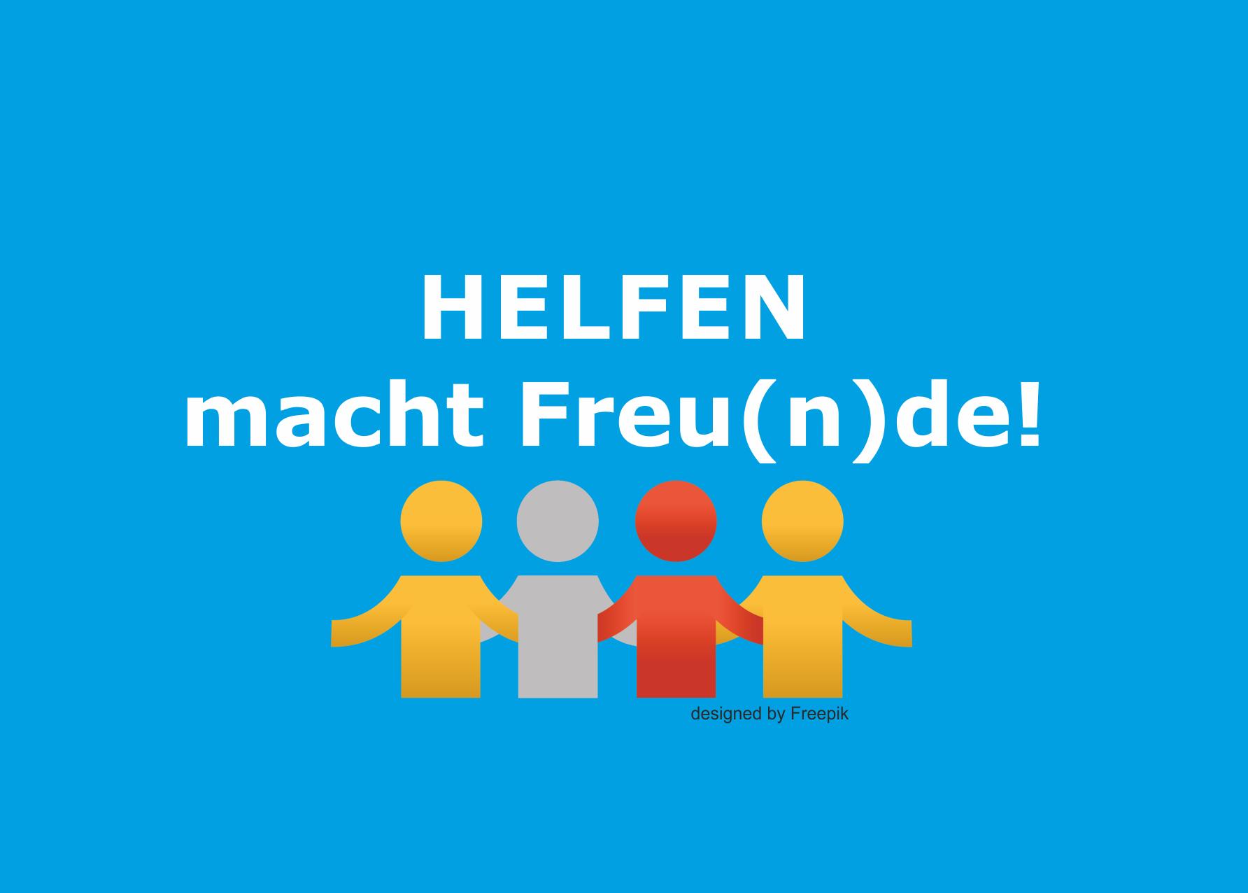 """Werbekarte für ungebundene Helfer mit der Aufschrift """"Helfen macht Freu(n)de!"""